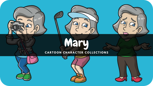 Mary is a female Caucasian cartoon character.