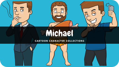 Michael is a middle-aged Caucasian male cartoon character.