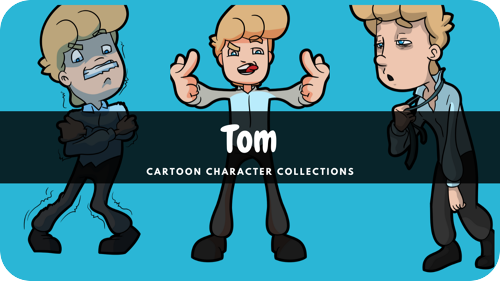 Tom is a middle-aged blonde male Caucasian cartoon character.