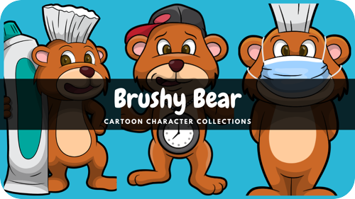 Brushy Bear is a dental health superhero cartoon character.